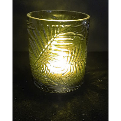 Picture of Candle holder - Green glass leaf pattern  - 8cm (D) x 9.4cm (H) OUT of STOCK