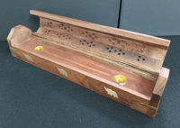 Picture of Incense burner - Ash box wood with brass elephant